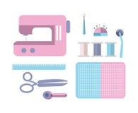 Accessoires de couture de couture d'équipement et de tailleur illustration stock