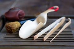 Accessoires de cérémonie de thé de chinois traditionnel Photos stock
