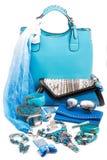 Accessoires de mode bleu vert Photos stock
