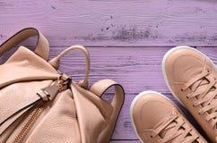 Accessoires de mode des femmes et sac à dos et Sn en cuir de chaussures Photos libres de droits