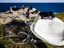 Accessoires de vacances sur le fond d'océan Images libres de droits