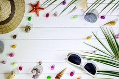 Accessoires de voyageur, branches en feuille de palmier tropicales sur le fond en bois blanc avec l'espace vide pour le texte Con photo libre de droits