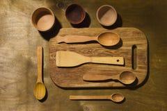 Accessoires en bois de cuisine Photographie stock