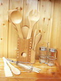 Accessoires en bois de cuisine Photos libres de droits