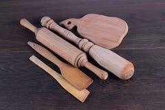 Accessoires en bois de cuisine Photos stock
