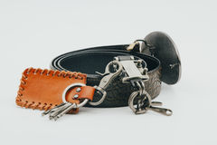 Accessoires en cuir Photos stock