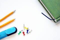 Accessoires et journal intime d'écriture Photo stock