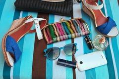 Accessoires femelles à la mode Concept d'été photos libres de droits