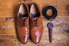 Accessoires formels masculins de Brown Photographie stock