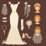 Accessoires modernes de mariage de vecteur de robe de jeune mariée de mariage de célébration d'illustration de conception nuptial illustration stock