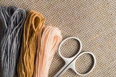 Accessoires pour des passe-temps : différentes couleurs de fil pour la broderie Images stock