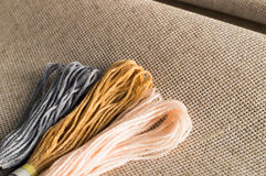 Accessoires pour des passe-temps : différentes couleurs de fil pour la broderie Image stock