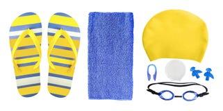 Accessoires pour la piscine d'isolement sur le blanc image libre de droits