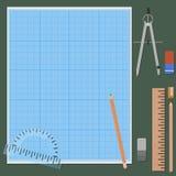 Accessoires pour le dessin mécanique Photographie stock