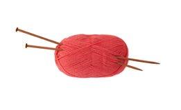 Accessoires pour tricoter sur un fond blanc Photographie stock libre de droits