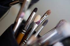 Accessoires professionnels utilisés de maquillage Photos stock