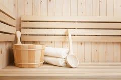 Accessores de station thermale et de bien-être dans le sauna Photos libres de droits