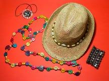 Accessori alla moda della spiaggia di estate Umore di vacanza Fotografia Stock Libera da Diritti