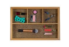 Accessori cosmetici delle donne in cassetto Fotografia Stock Libera da Diritti