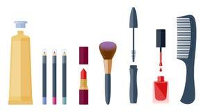 Accessori cosmetici messi: eye-liner, rossetto, ombretto, mascara illustrazione vettoriale