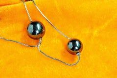 Accessori dei gioielli delle perle nere Fotografia Stock