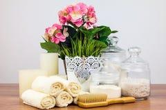 Accessori del bagno elementi dell'igiene personali Fotografia Stock Libera da Diritti
