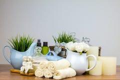 Accessori del bagno elementi dell'igiene personali Fotografia Stock