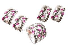 Accessori del diamante messi Fotografie Stock