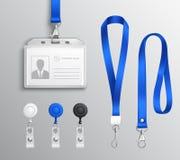 Accessori del distintivo della carta di identità messi Fotografie Stock
