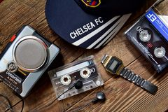 Accessori del mante della musica anziano, annata Fotografia Stock