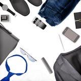 Accessori del ` s degli uomini isolati su fondo bianco Vista superiore Fotografie Stock