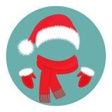 Accessori del ` s del nuovo anno Cappello Santa Claus, sciarpa e guanti Immagini Stock