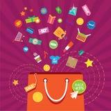 Accessori del sacchetto della spesa, sconti che comprano i vestiti illustrazione vettoriale
