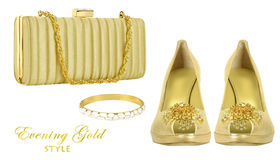 Accessori della donna dell'oro Fotografie Stock