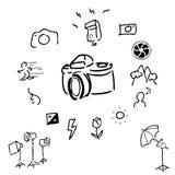 Accessori della macchina fotografica che disegnano le icone Fotografie Stock Libere da Diritti