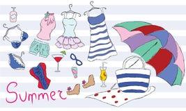 Accessori della spiaggia di estate per le donne e l'abbigliamento di estate Immagine Stock