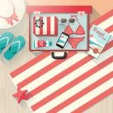 Accessori della spiaggia di modo illustrazione di stock