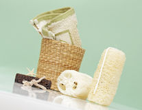 Accessori della stazione termale, elementi del bagno Fotografia Stock