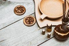Accessori di aromaterapia nel retro stile Fotografia Stock Libera da Diritti