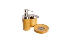 Accessori di bambù del bagno Fotografie Stock