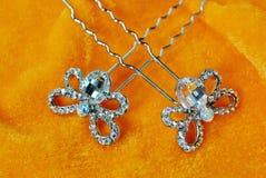 Accessori di cristallo dei gioielli del diamante della farfalla dello scarabeo Fotografia Stock Libera da Diritti