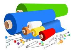 Accessori di cucito del tessuto di vettore royalty illustrazione gratis