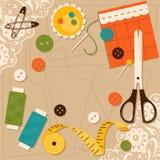 Accessori di cucito Illustrazione di vettore Illustrazione di Stock