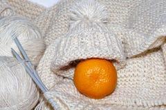 Accessori di lavoro a maglia Palle del filato Tricotti gli aghi Immagini Stock Libere da Diritti