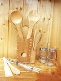 Accessori di legno della cucina Fotografie Stock Libere da Diritti