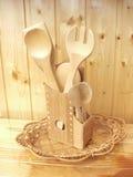 Accessori di legno della cucina Fotografia Stock