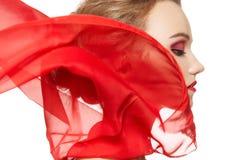 Accessori di modo. Modello con la sciarpa di seta, trucco Fotografia Stock