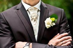 Accessori di nozze per lo sposo immagini stock