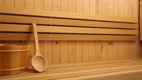 Accessori di sauna, figura di Buddha stock footage