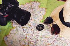 Accessori di viaggio per il viaggio di viaggio passaporti Fotografie Stock Libere da Diritti